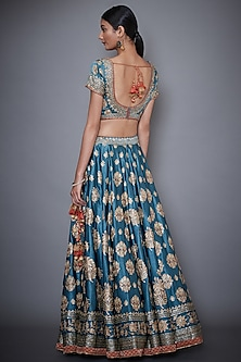 Blue Embroidered Printed Lehenga Set by Ri Ritu Kumar