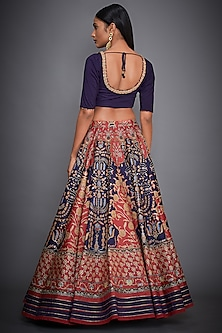 Purple & Red Printed Embroidered Lehenga Set by Ri Ritu Kumar