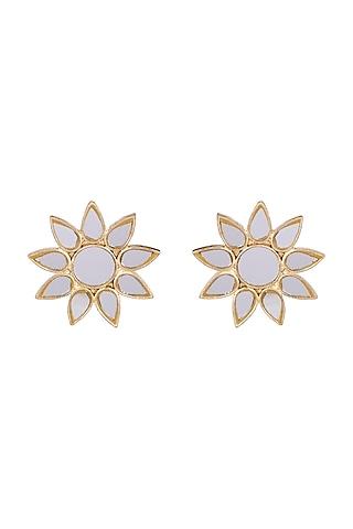 Gold Finish Big Surya Earrings by Ritika Sachdeva