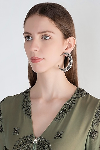 Antique Silver Finish Moon Mirror Earrings by Ritika Sachdeva