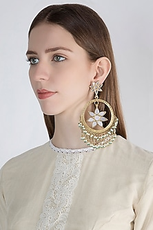 Gold Finish Oversized Fringe Bali Earrings by Ritika Sachdeva