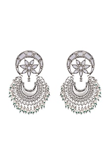 Antique Silver Finish Mirror Chandbali Earrings by Ritika Sachdeva