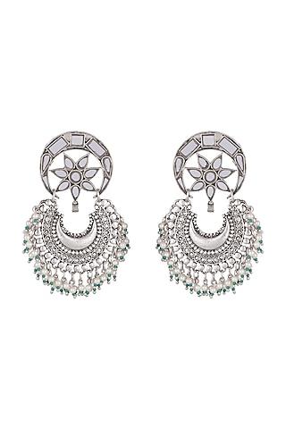Antique Silver Finish Mirror Chandbali Earrings by Ritika Sachdeva