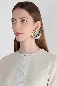 Gold Finish Half Moon Big Mirror Earrings by Ritika Sachdeva