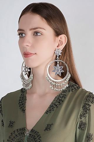 Antique Silver Finish Oversized Fringe Bali Earrings by Ritika Sachdeva