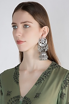 Antique Silver Finish Mirror Long Jhumka Earrings by Ritika Sachdeva