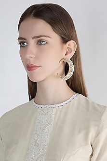 Gold Finish Moon Big Mirror Earrings by Ritika Sachdeva