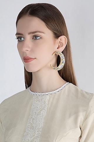 Gold Finish Moon Big Mirror Earrings by Ritika Sachdeva