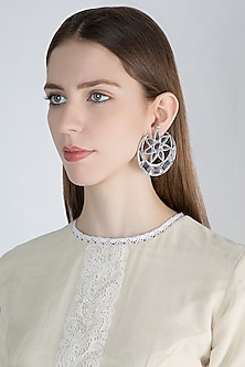 Antique Silver Finish Half Moon Big Mirror Earrings by Ritika Sachdeva