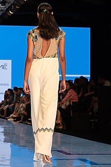 White Machine Embroidered Jumpsuit by Rajni Suyach