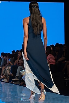 Blue Dress With Razor Cut Sleeves by Rajni Suyach