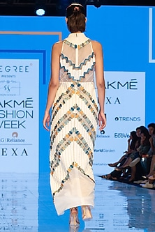 White Embroidered Maxi Dress by Rajni Suyach