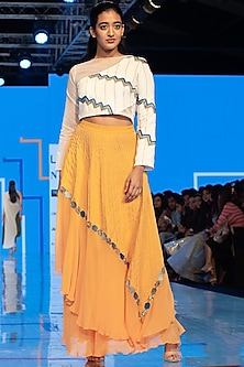 White Embroidered Crop Top With Yellow Skirt by Rajni Suyach