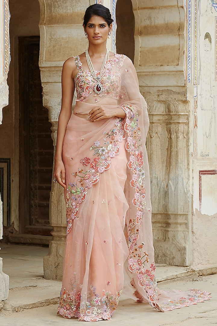 Pink Ombre Wildflower Hand Embroidered Saree Set by Rahul Mishra