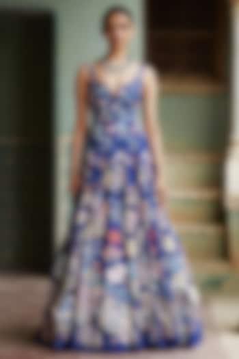 Blue Truffle Decollage Hand Embroidered Gown by Rahul Mishra
