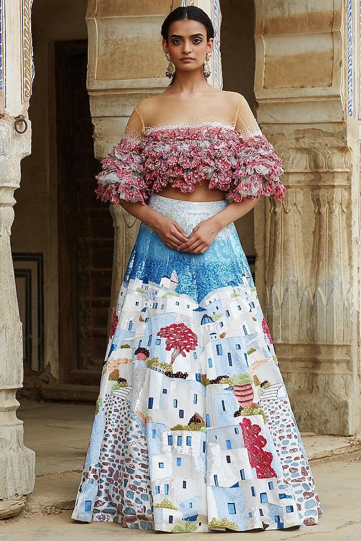 Multi Colored Santorini Hand Embroidered Lehenga Set by Rahul Mishra