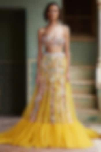 Yellow Wildflower 3D Hand Embroidered Skirt Set by Rahul Mishra