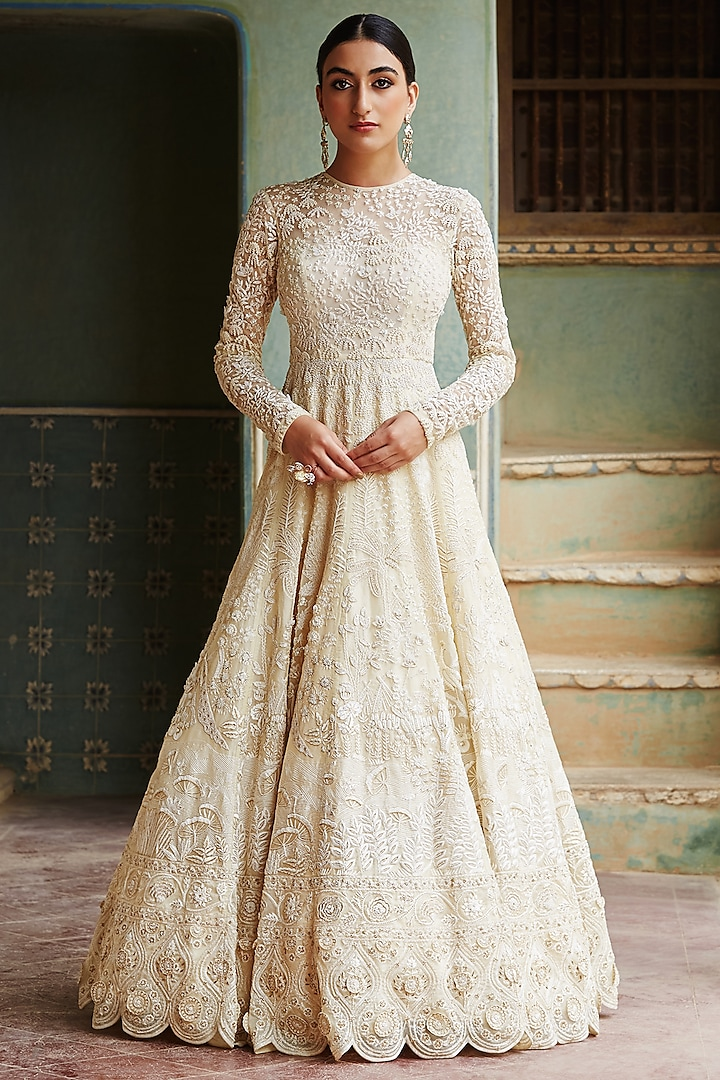 Yellow & Gold Pichwai Hand Embroidered Gown by Rahul Mishra