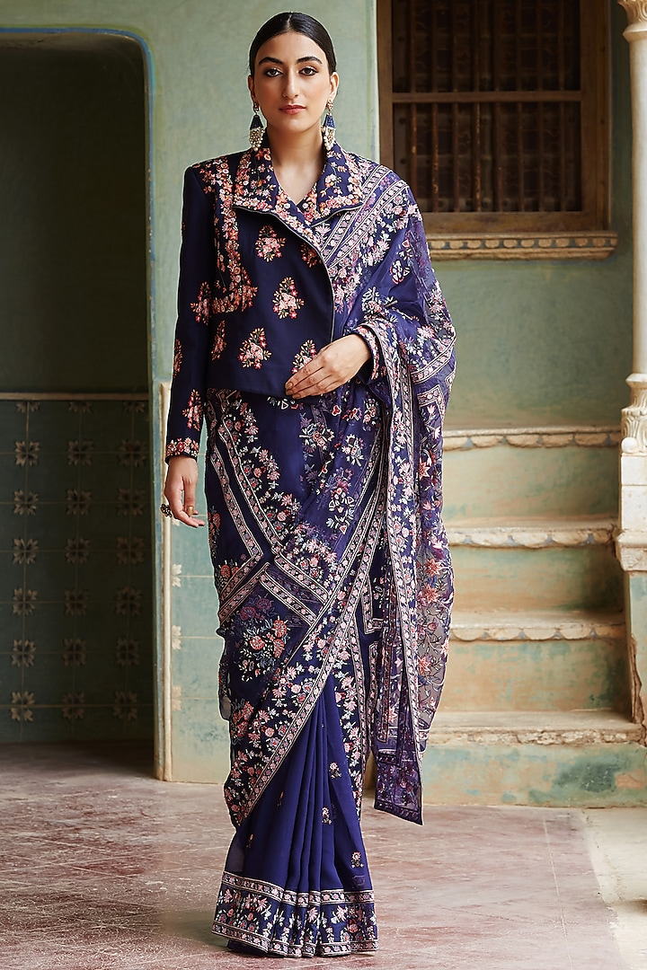 Navy Blue Hand Embroidered Saree With Biker Jacket by Rahul Mishra