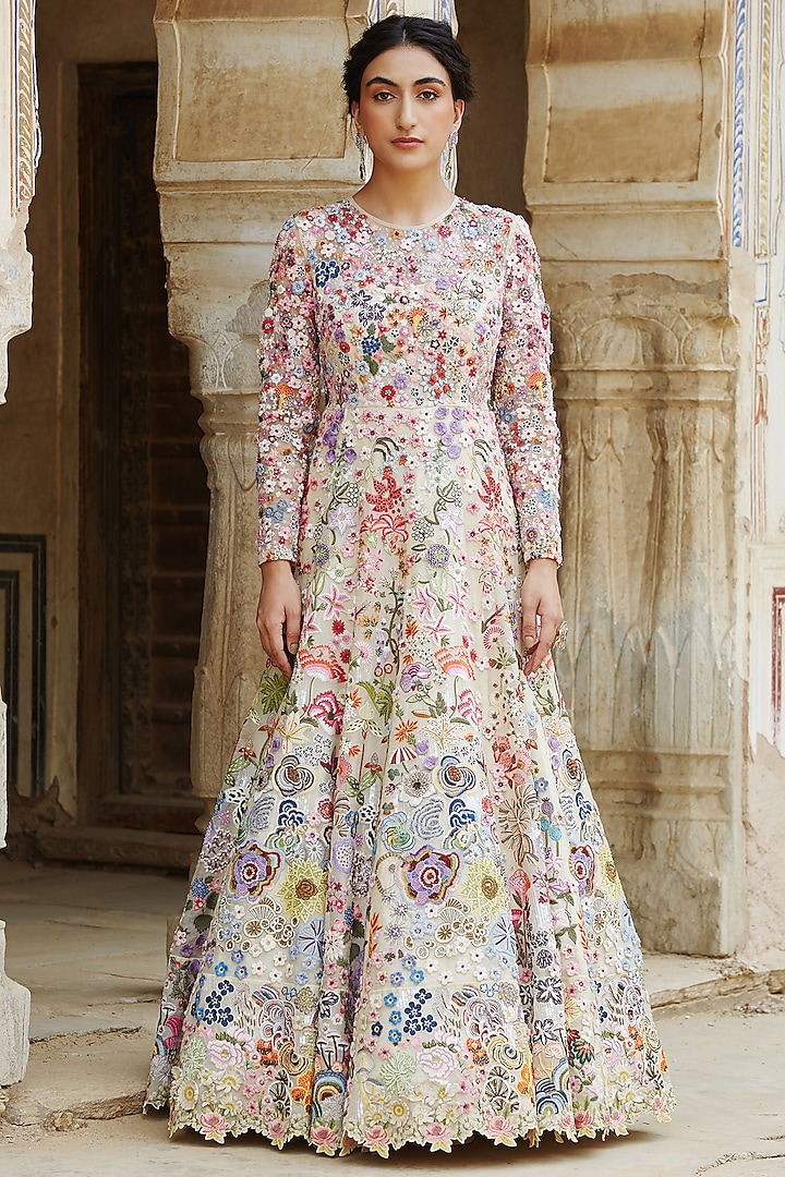 Multi Colored Yellow Heimat Hand Embroidered Gown by Rahul Mishra