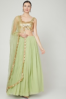 Green Embroidered Lehenga Set by Ria Shah Label
