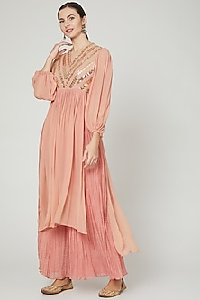 Pink Sequins Embroidered Kurta With Pants by Ria Shah Label