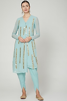 Sky Blue Embroidered Kurta With Pants by Ria Shah Label