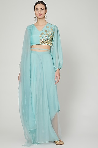 Sky Blue Embroidered Pant Saree Set by Ria Shah Label