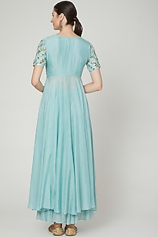 Sky Blue Embroidered Anarkali With Pants by Ria Shah Label