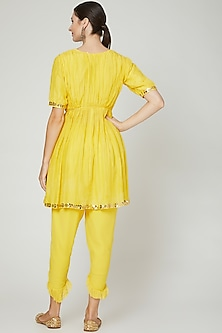 Yellow Embroidered Kurta With Pants by Ria Shah Label