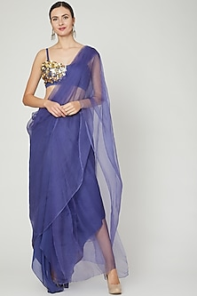 Blue Embroidered Pant Saree Set by Ria Shah Label