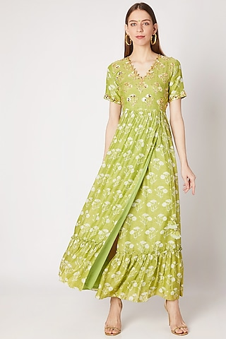 Olive Green Printed & Embroidered Maxi Dress by Ria Shah Label
