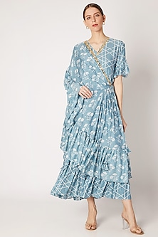 Sky Blue Embroidered & Printed Saree Drape Dress by Ria Shah Label