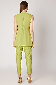 Olive Green Embroidered Kurta With Flap Pants by Ria Shah Label