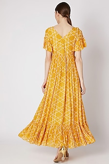 Mustard Yellow Embroidered & Printed Angrakha Dress by Ria Shah Label