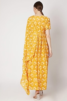 Mustard Yellow Embroidered & Printed Anarkali With Drape Dupatta by Ria Shah Label