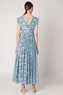 Sky Blue Embroidered & Printed Maxi Dress by Ria Shah Label