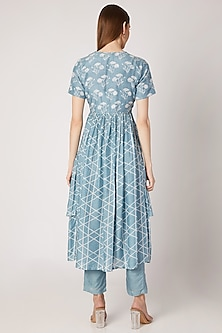 Sky Blue Printed Layered Kurta With Pants by Ria Shah Label