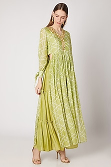 Olive Green Printed Kurta With Layered Pants by Ria Shah Label