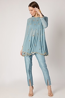 Sky Blue Embroidered Top With Bustier & Flap Pants by Ria Shah Label