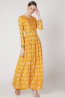 Mustard Yellow Printed & Embroidered Anarkali by Ria Shah Label