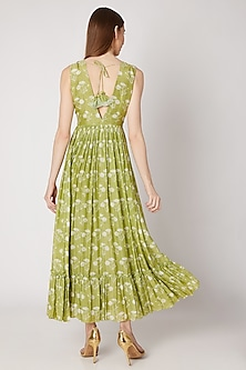 Olive Green Embroidered & Printed Maxi Dress by Ria Shah Label