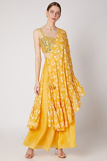 Mustard Yellow Embroidered Bustier With Pants & Printed Draped Dupatta by Ria Shah Label