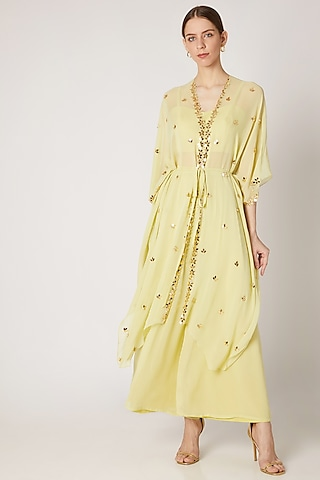 Lime Yellow Embroidered Kaftan With Bustier & Pants by Ria Shah Label