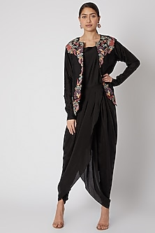 Black Dhoti Jumpsuit With Embroidered Jacket by Rishi & Soujit