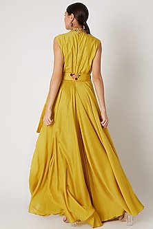 Yellow Embroidered Flared Jumpsuit WIth Belt by Rishi & Soujit