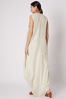 Beige Embroidered Draped Dress by Rishi & Soujit