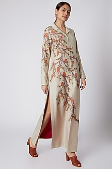 Beige Embroidered Shacket Dress by Rishi & Soujit