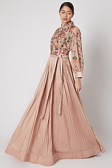 Peach Embroidered Pleated Anarkali With Belt by Rishi & Soujit