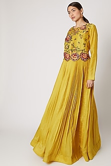 Yellow Embroidered Pleated Anarkali by Rishi & Soujit